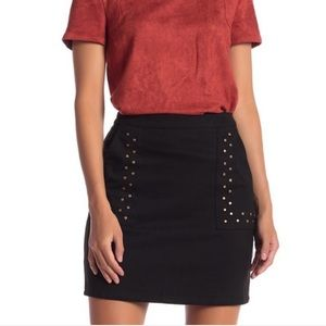 Sugar Lips Fiona Faux Suede Studded Skirt